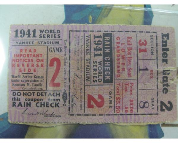 1941 World Series program and ticket